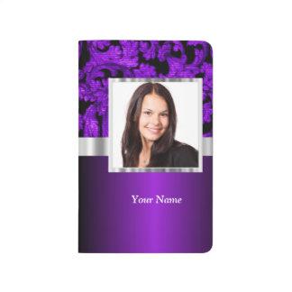 Purple and black damask photo template journal