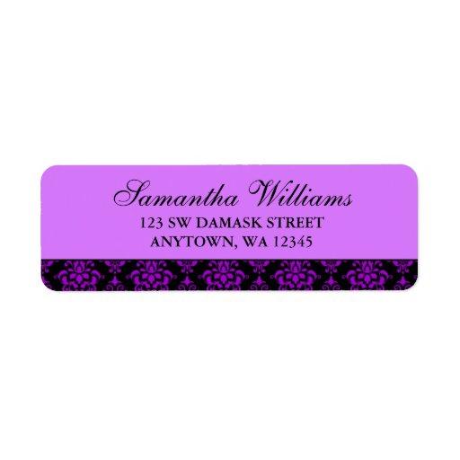 Purple and Black Damask Return Address Labels
