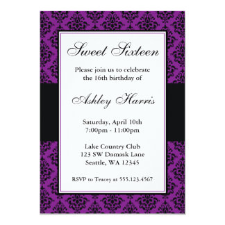 Purple and Black Damask Sweet Sixteen Birthday Card