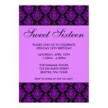 Purple and Black Damask Sweet Sixteen Birthday 5x7 Paper Invitation Card