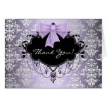 Purple and Black Damask Thank You Cards Note Card