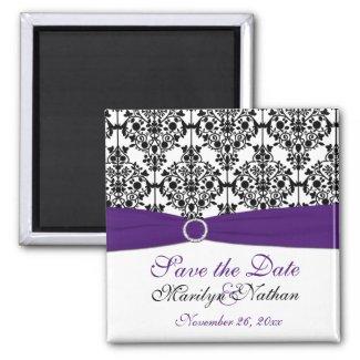 Purple and Black Damask Wedding Favor Magnet magnet