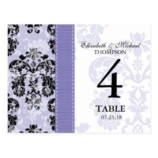 Purple and Black Damask Wedding Table Number Card