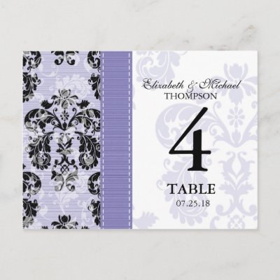 Customize this pretty black and light purple damask wedding table number