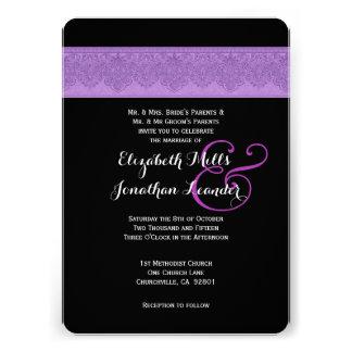 Purple and Black Damask Wedding Template V11 Custom Invites