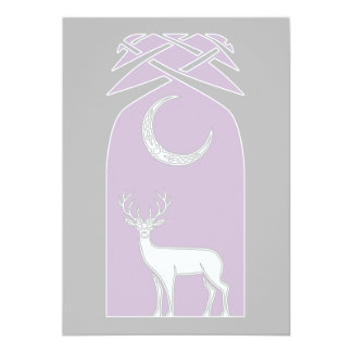 Purple And Black Deer In The Forest Celtic Art 5x7 Paper Invitation Card