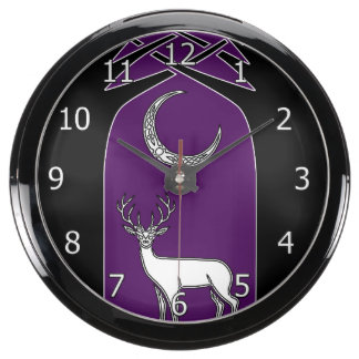 Purple And Black Deer In The Forest Celtic Art Fish Tank Clock