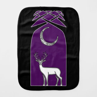 Purple And Black Deer In The Forest Celtic Art Baby Burp Cloth