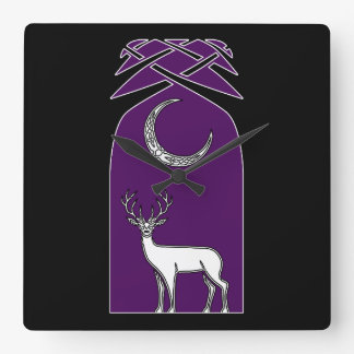 Purple And Black Deer In The Forest Celtic Art Square Wall Clock