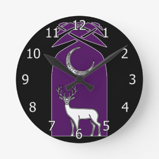 Purple And Black Deer In The Forest Celtic Art Round Clocks