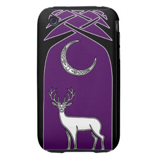 Purple And Black Deer In The Forest Celtic Art iPhone 3 Tough Cover
