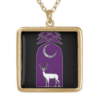 Purple And Black Deer In The Forest Celtic Art Pendants