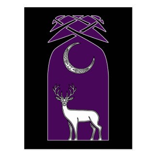 Purple And Black Deer In The Forest Celtic Art Postcard