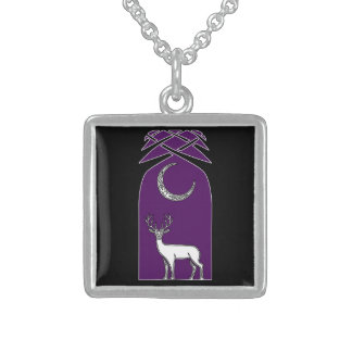 Purple And Black Deer In The Forest Celtic Art Square Pendant Necklace