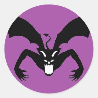 Purple And Black Devil Classic Round Sticker