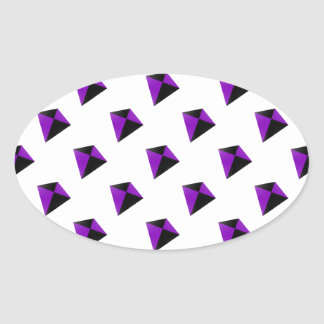 Purple and Black Diamond Shaped Kites Oval Sticker