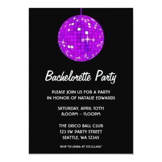 Purple and Black Disco Ball Bachelorette Party Card
