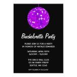 Purple and Black Disco Ball Bachelorette Party 5x7 Paper Invitation Card