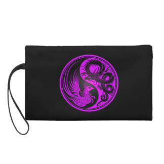 Purple and Black Dragon Phoenix Yin Yang Wristlet Purse