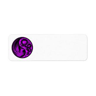 Purple and Black Dragon Phoenix Yin Yang Label