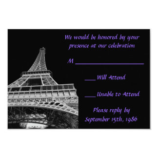 Purple and Black Eiffel Tower RSVP Cards