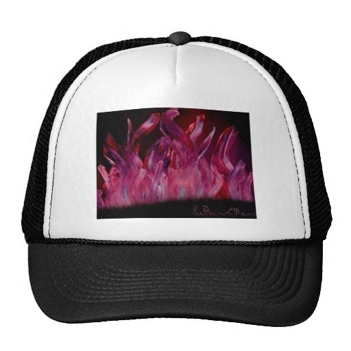 Purple and black flames in Spray Paint Hats