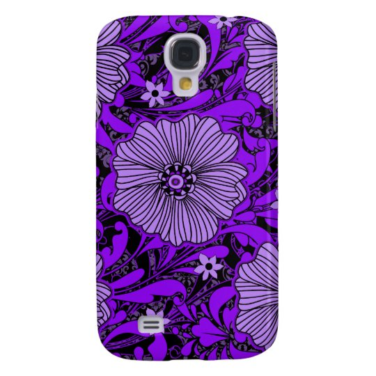 Purple and Black Floral Chaos Samsung Galaxy S4 Cover