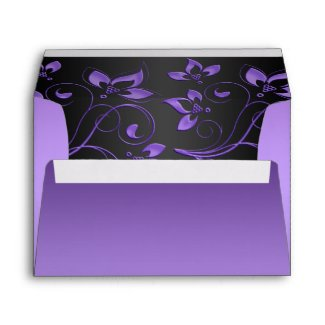 Purple and Black Floral Envelope for 5