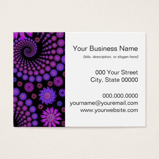 Purple and Black Floral Pattern Business Card