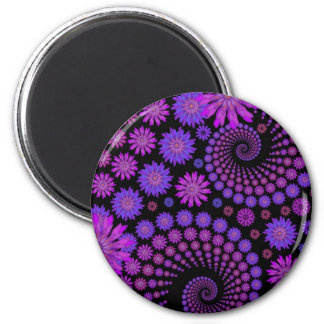 Purple and Black Floral Pattern Magnet