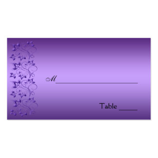 Purple and Black Floral Placecard Business Card