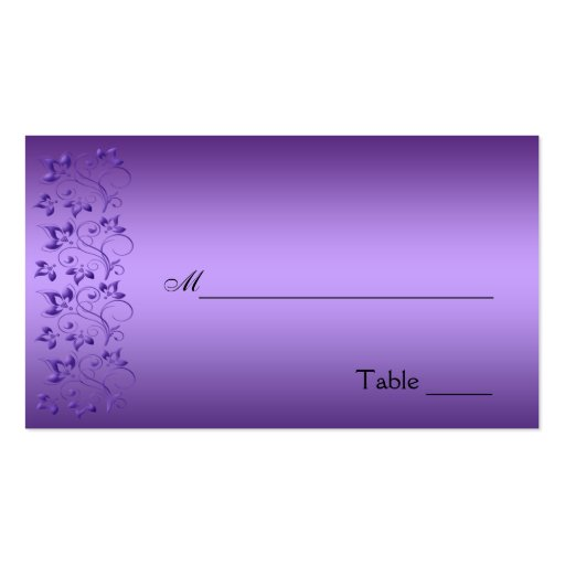 Purple and Black Floral Placecard Business Cards