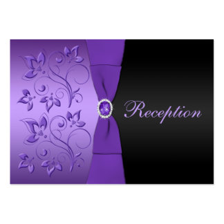 Purple and Black Floral Reception Enclosure Card Large Business Card