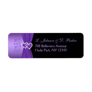 Purple and Black Floral Return Address Label