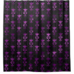Purple and Black Floral Shower Curtain