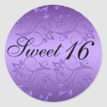 Purple and Black Floral Sweet Sixteen Sticker