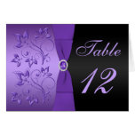Purple and Black Floral Table Number Card Greeting Card