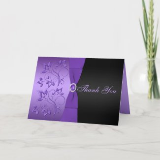 Purple and Black Floral Thank You Card card
