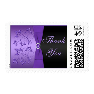 Purple and Black Floral Thank You Postage