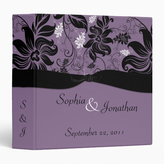 Purple and Black Floral Wedding Binder