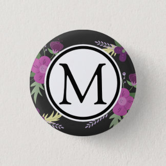 Purple and Black Flower Design Pinback Button
