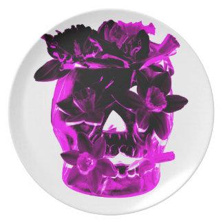 Purple and Black Flower Skull Dinner Plates