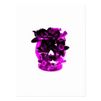 Purple and Black Flower Skull Postcard