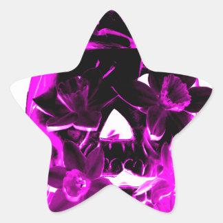 Purple and Black Flower Skull Star Sticker
