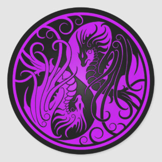 Purple and Black Flying Yin Yang Dragons Classic Round Sticker