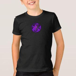 Purple and Black Flying Yin Yang Dragons T-Shirt