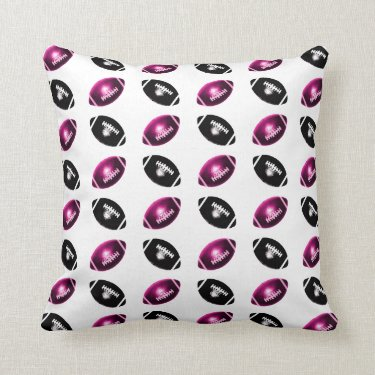 Purple and Black Football Pattern Throw Pillow