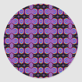 Purple and Black Fractal Pattern Classic Round Sticker