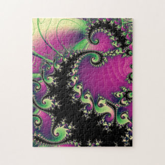 Purple and Black Fractal Spirals Jigsaw Puzzle