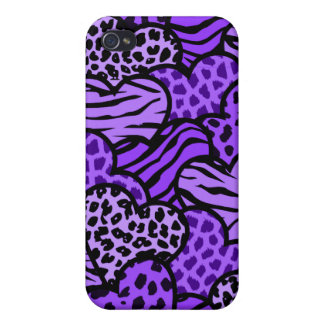 Purple and black girly animal print hearts case for iPhone 4